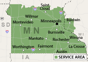 Service Are for Complete Basement Systems of MN